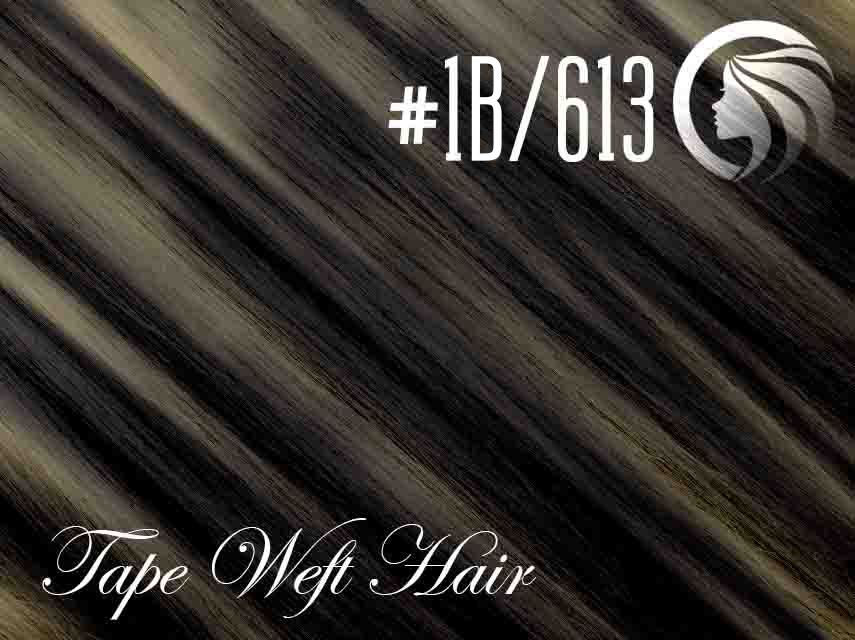 #1B/613 Off Black/Blonde – 18″ – 60 gram – 24 Pieces – Athena Tape Weft